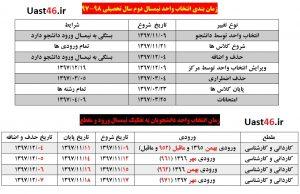 برنامه زمان بندی انتخاب واحد دانشجویان در نیمسال دوم 1398 - 1397